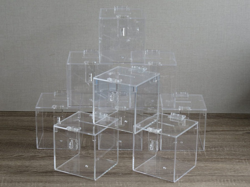 urna em acrílico - modelo quadrado 15cm - mundus
