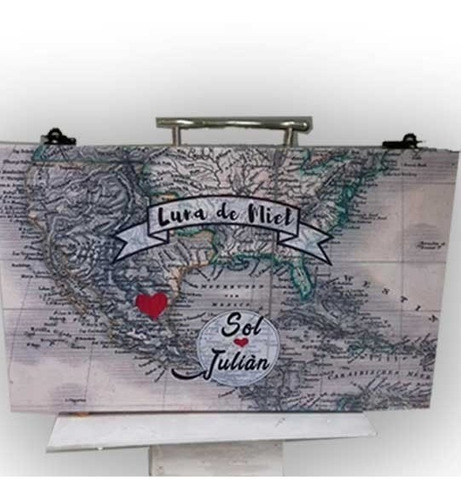 urna valija buzon luna de miel para bodas premium mas cartel