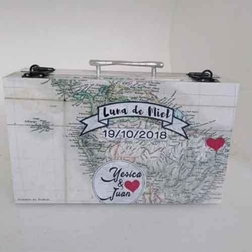 urna valija luna de miel mapa  casamiento.