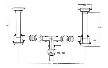 urrea cespol de plástico flexible para fregadero 3735