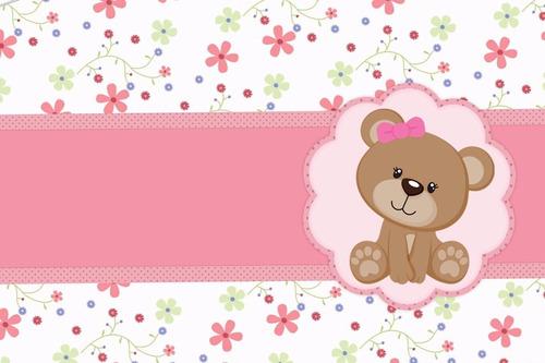 ursa marrom e rosa  papel de arroz a4 comestível