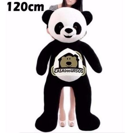 ursao de pelucia gigante panda 120cm 1,2 mts + filhote 25cm