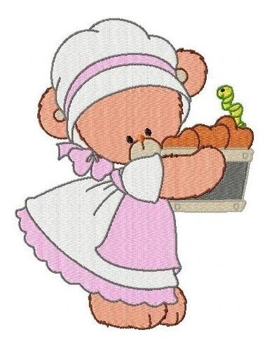 ursinha cor de rosa - coleção de matriz de bordado