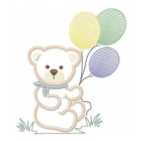 Ursinho 62 Aplique - Matriz De Bordado - Balão Infantil