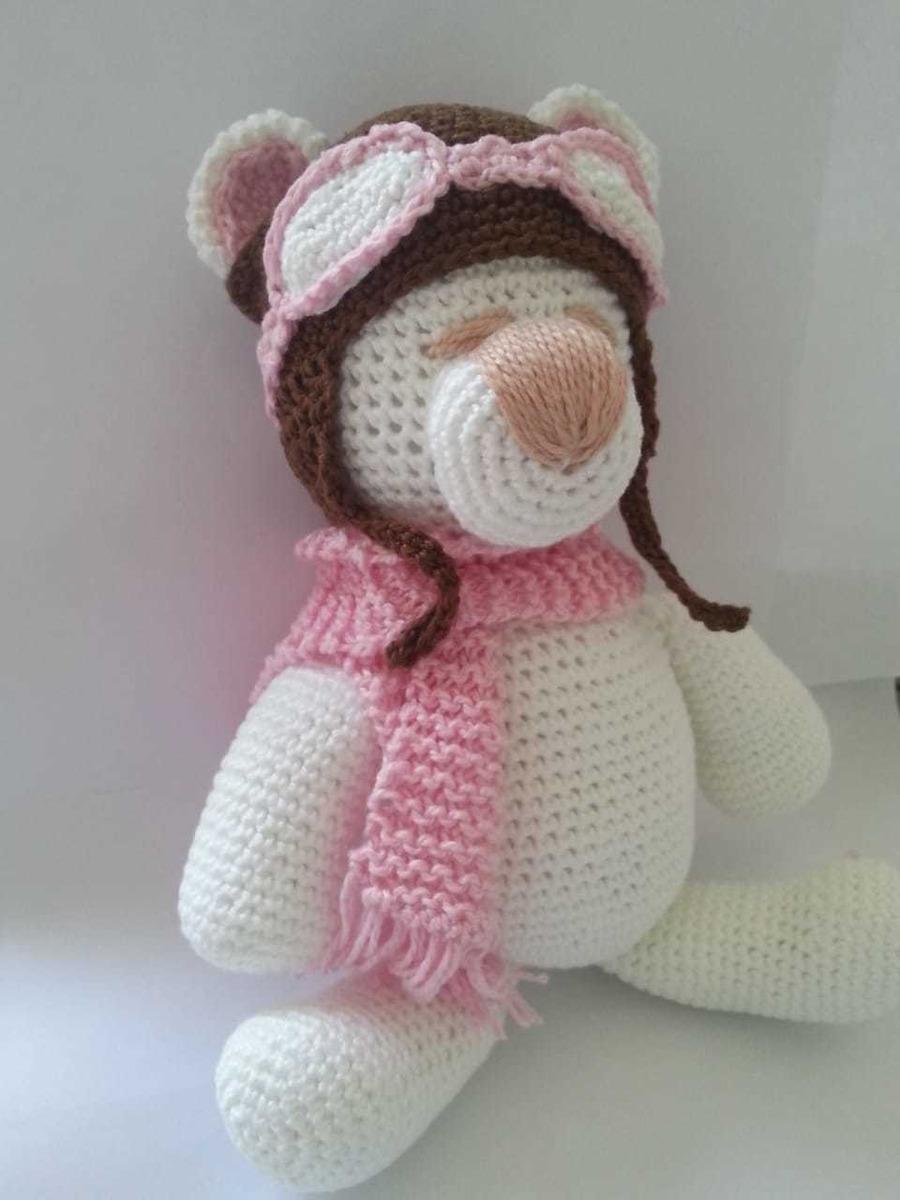 Ursinho De Crochê Bege Amigurumi - R$ 80,00 em Mercado Livre | 1200x900