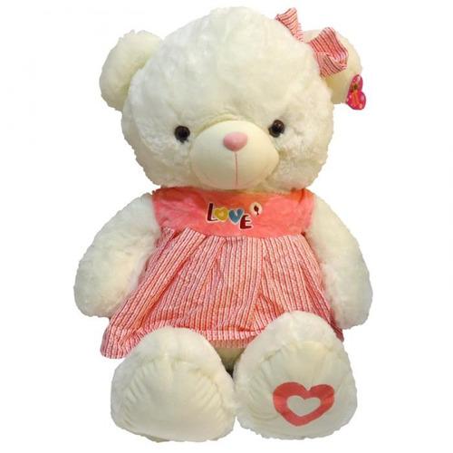 ursinho de pelúcia infantil ch1504 branco coração