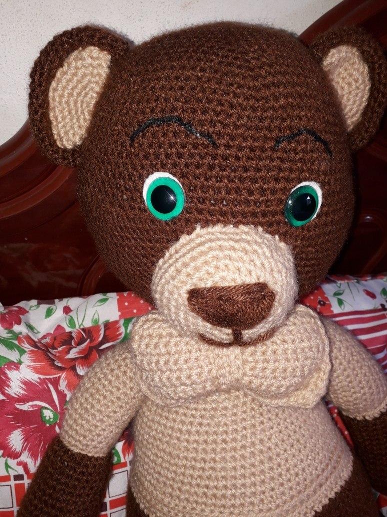 Ursinho de crochê com cachecol - linha Anne dupla | 1032x774