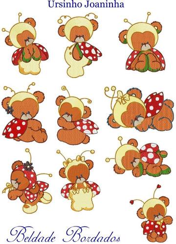 ursinho joaninha - coleção de matriz de bordado