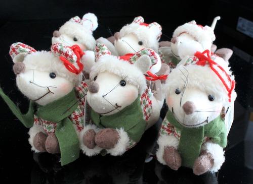 ursinho pelúcia ratinho enfeite de natal decoração 15cm