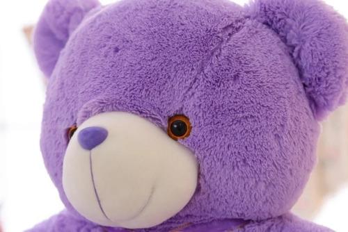 ursinho urso 50 cm pelúcia azul ascende com luzes luz de led