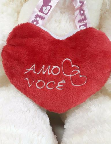 ursinho urso creme gigante 120 cm romântico tedy love te amo