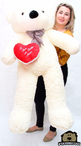urso bicho pelúcia gigante 140cm 1,4 mt + coração romântico
