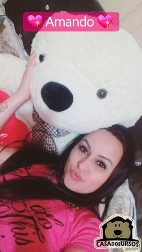 urso bicho pelúcia grande 1,30 mt com coração presente natal