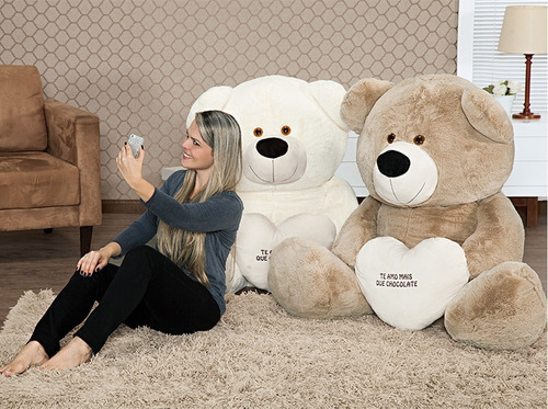 urso big teddy marfim pelúcia gigante 130 x 100 cm namorados