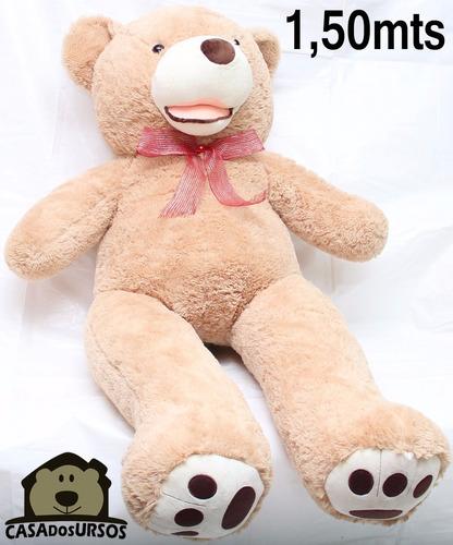 urso creme gigante com boca pelúcia grande 1,50 mts 150 cm