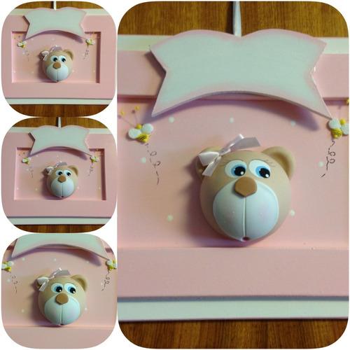 urso família porta de maternidade para bebês 30x26