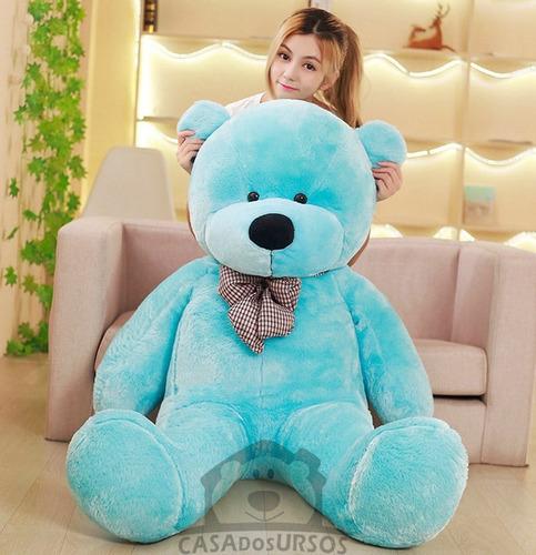 urso gigante azul 1,30 metros 130 cm cheio - casa dos ursos