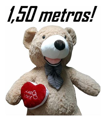 urso gigante bege caramel pelúcia 1,5 metros 150cm + coração