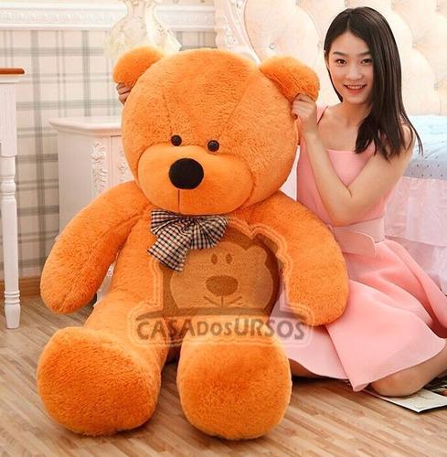 urso gigante bege de pelucia teddy 1,8 metros + já vai cheio