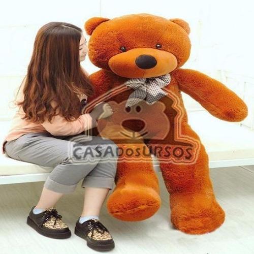 urso gigante marrom 1 metro e 30 cm já cheio - casa dos urso