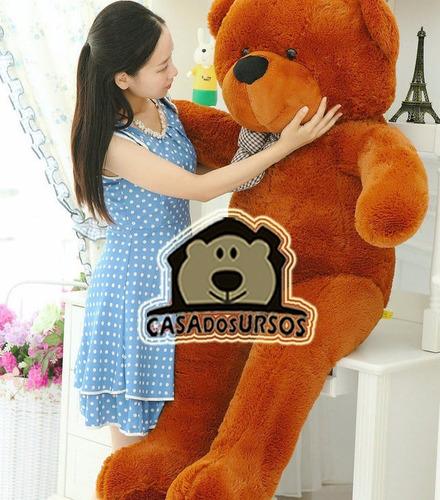 urso grande pelúcia gigante marrom 1,3 mts 130cm +enchimento