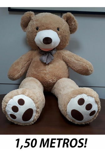 urso lindo grande pelúcia gigante 1,5 mts 150cm com lacinho