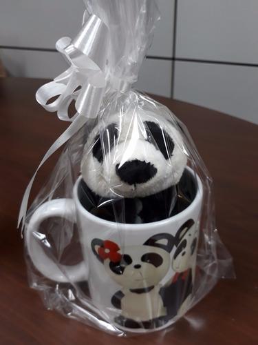urso panda 35 cm + ursinho 15 cm caneca presente p/ namorada