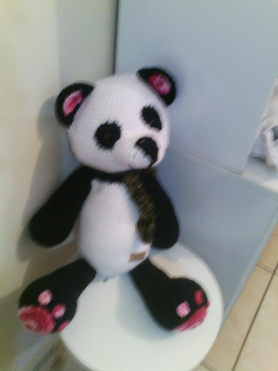 White-Black Panda Handmade Amigurumi Stuffed Toy Knit Crochet Doll ... | 1200x900