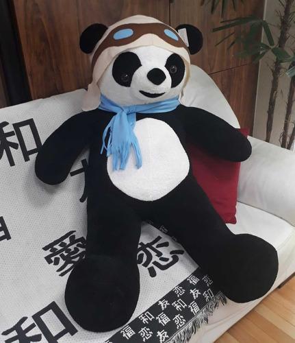 urso panda aviador piloto pelúcia grande gigante 120cm 1,2mt