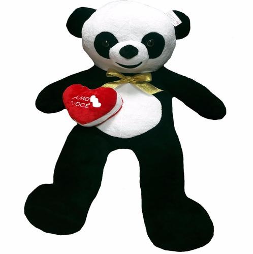 urso panda de pelúcia gigante 1 metro e 20cm + laço coração