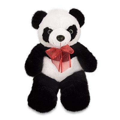 urso panda dely pelucia preto branco 30cm lavavel antialergi