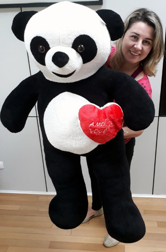 urso papai panda + coração romântico pelúcia gigante 120 cm