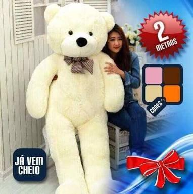 urso pelucia gigante teddy bear  2 metros (ja cheio)
