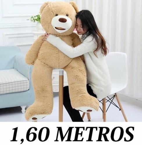 urso teddy gigante marrom claro pelúcia grande 1,60 m 160cm