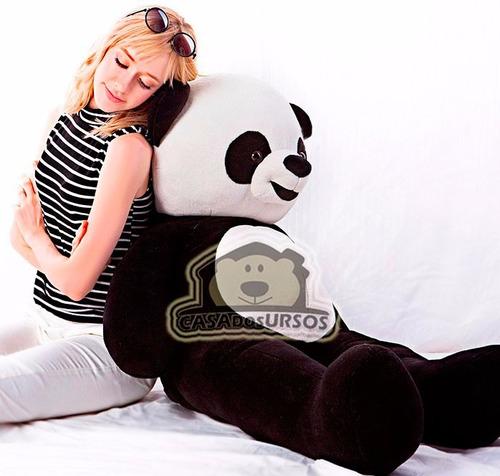 urso ursinho + coração de pelúcia panda grande 120cm 1,20 mt