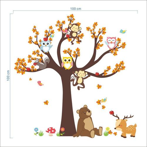 urso ursinho coruja macaco adeviso árvore animais decoração