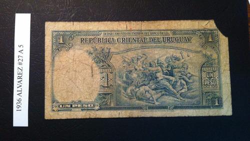 uruguay,  1 peso 1935, w. a. #27 a 5