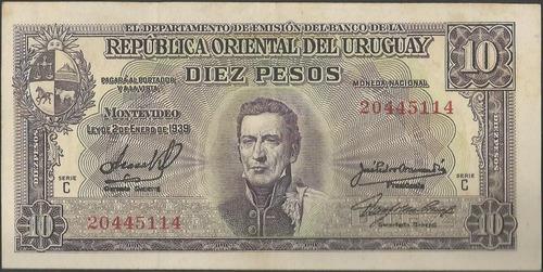 uruguay, 10 pesos 2 ene 1939 p37c