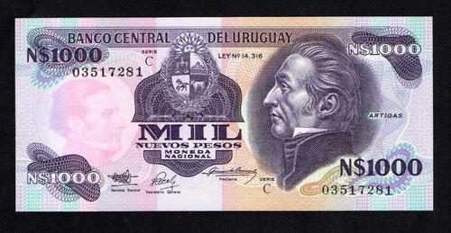 uruguay 1991 - america, billete de 1000 pesos