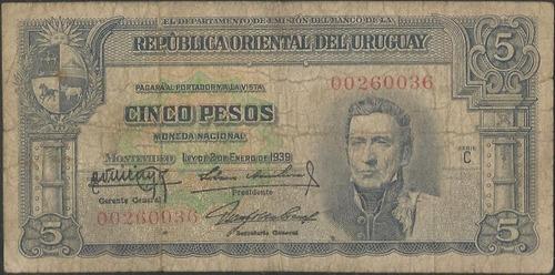 uruguay, 5 pesos 2 ene 1939 p36b