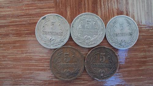 uruguay. lote de 5 monedas de 5 centésimos. varios años