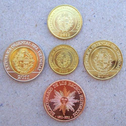 uruguay - lote monedas 1, 2, 5 ,10 y 50 pesos ¡ sin circ.!