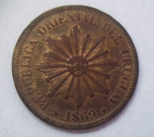 uruguay moneda 2 centésimos año 1869 ceca h muy linda pieza