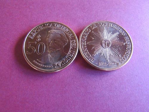 uruguay moneda de  50 pesos 2011 conmemorativa independencia
