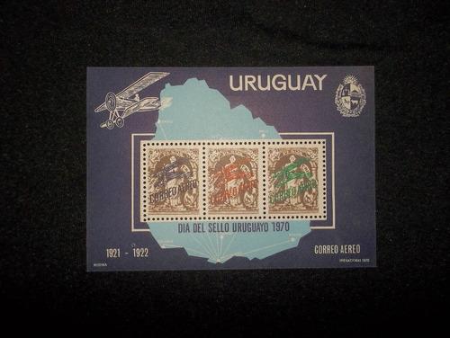uruguay, sello correo aereo - dia del sello uruguayo 1970.