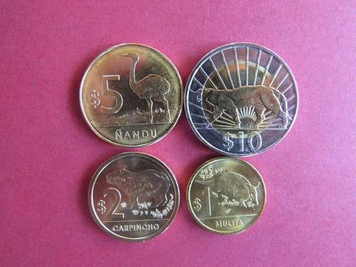 uruguay- set de 4 monedas de animales 2011-2014 sin circular