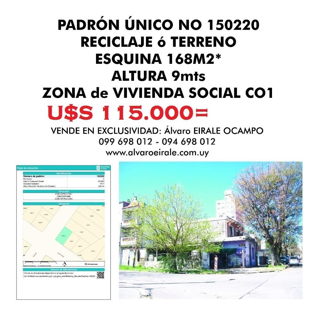 u$s 115.000= terreno 168 m2* esquina zona v i s