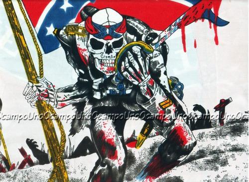 us confederate rebel skull cowboy patch. nuevo.