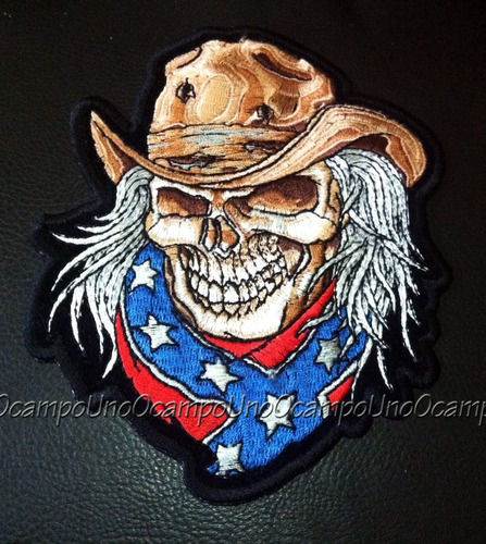 us confederate rebel skull cowboy patch. nuevo.