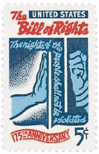 us sc #1312 - 1966 5c bill of rights con matasello.